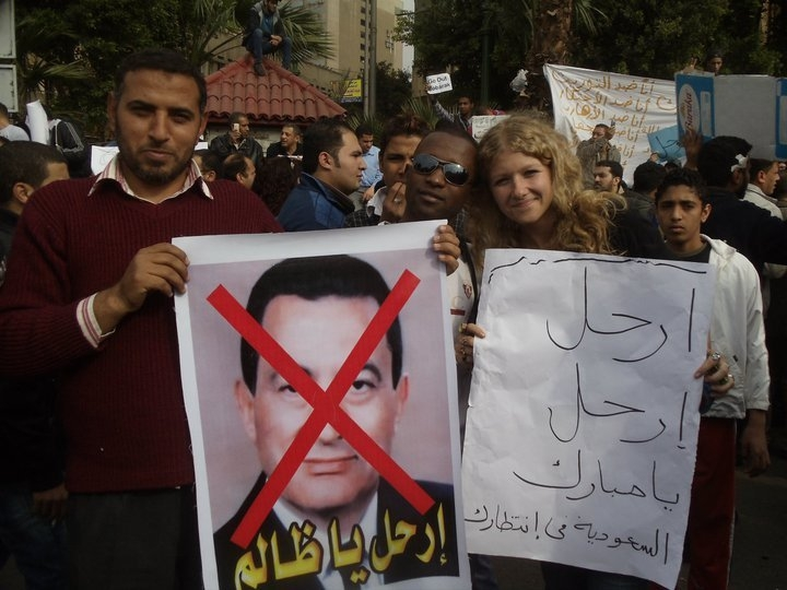 Drzymala sided with protestors in the removal of Hosni Mubarak from his presidential seat during her brief stay in Cairo.