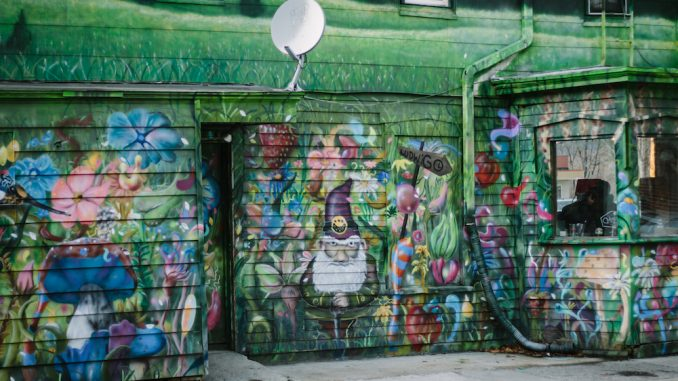 Stetz's mural outside of Bacchus restaurant in New Paltz, New York. Photo by Jeannette LaPointe.