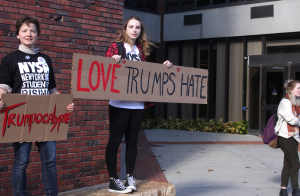 """I am genuinely afraid of how our country believes these ideologies Trump is spreading,"" said Eleanor Condelles, second-year psychology major. ""I believe the only way we can combat this is to come together with love and unity. If we want things to change, we need to stand together."""
