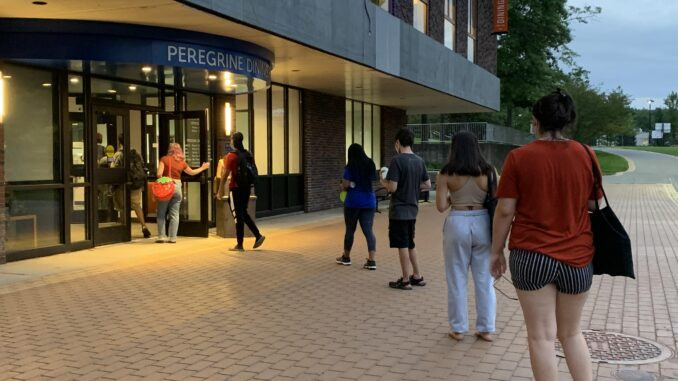 Students-waiting-for-dining-hall-entry